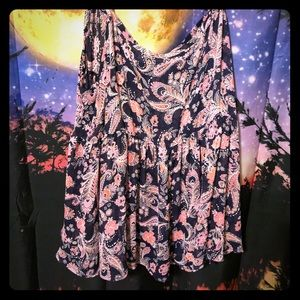 Blue and pink paisley babydoll top
